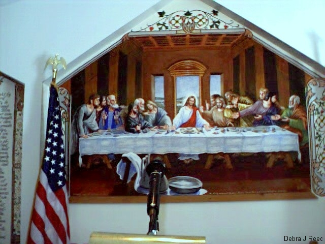 Altar Piece of Last Supper in new Swan Creek Primitive Baptist Church