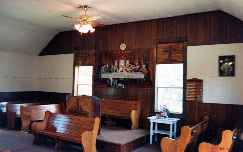 Inside Swan Creek Primitive Baptist Church built 1879